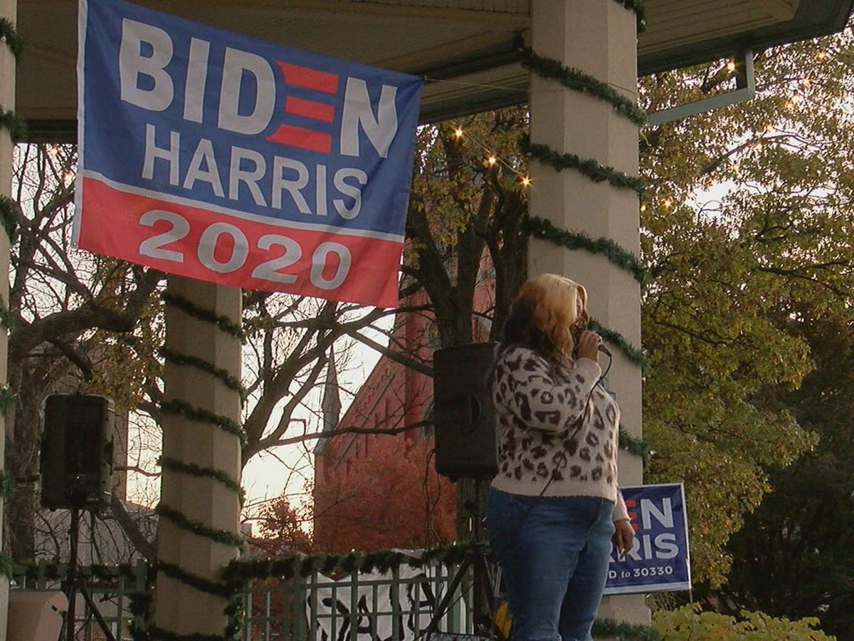 Joe Biden supporters gather at Washington Park
