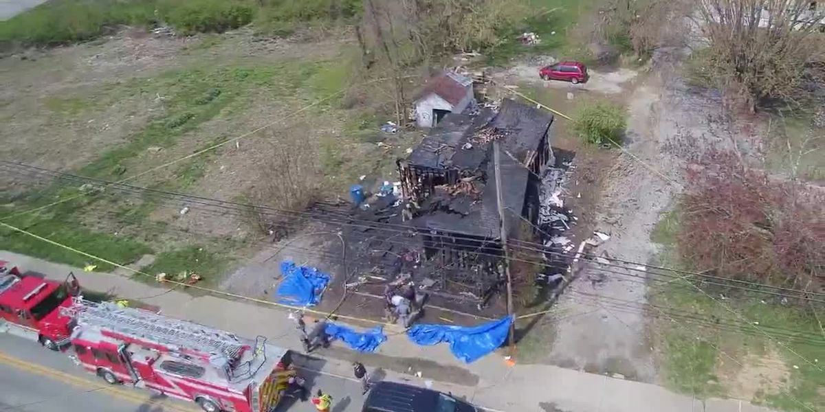 Drone video of fatal fire scene in Crittenden, KY