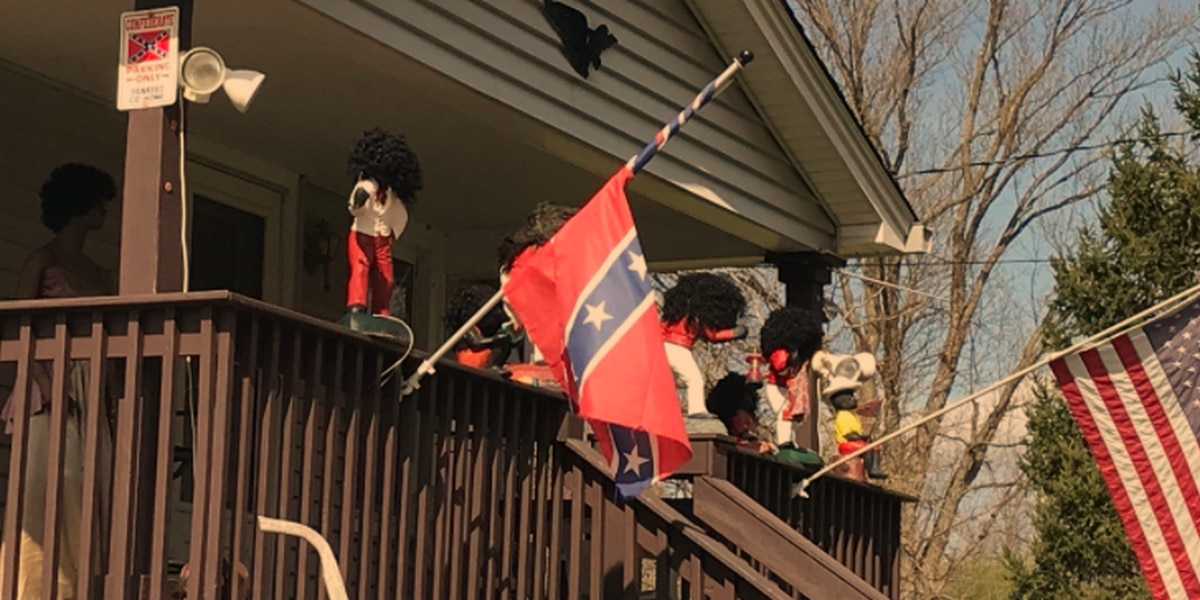 Display With Confederate Flags Figures With Wigs Spurs Controversy
