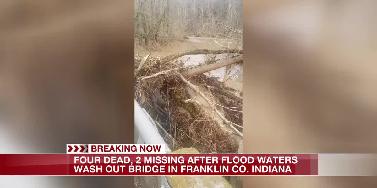 Floodwaters wash out bridge in Indiana; 5 bodies recovered, one missing