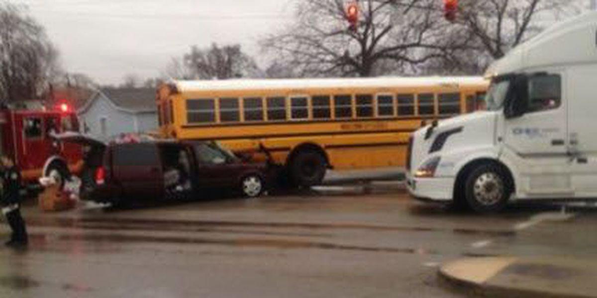 Van passengers injured in crash with Middletown school bus