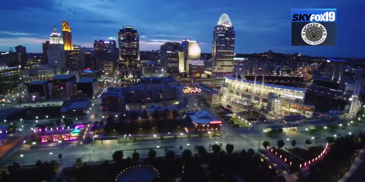 SkyFox19 - Downtown Cincinnati at night