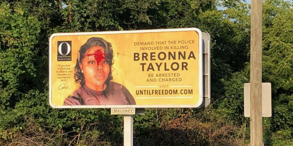 Breonna Taylor billboard vandalized with red paint