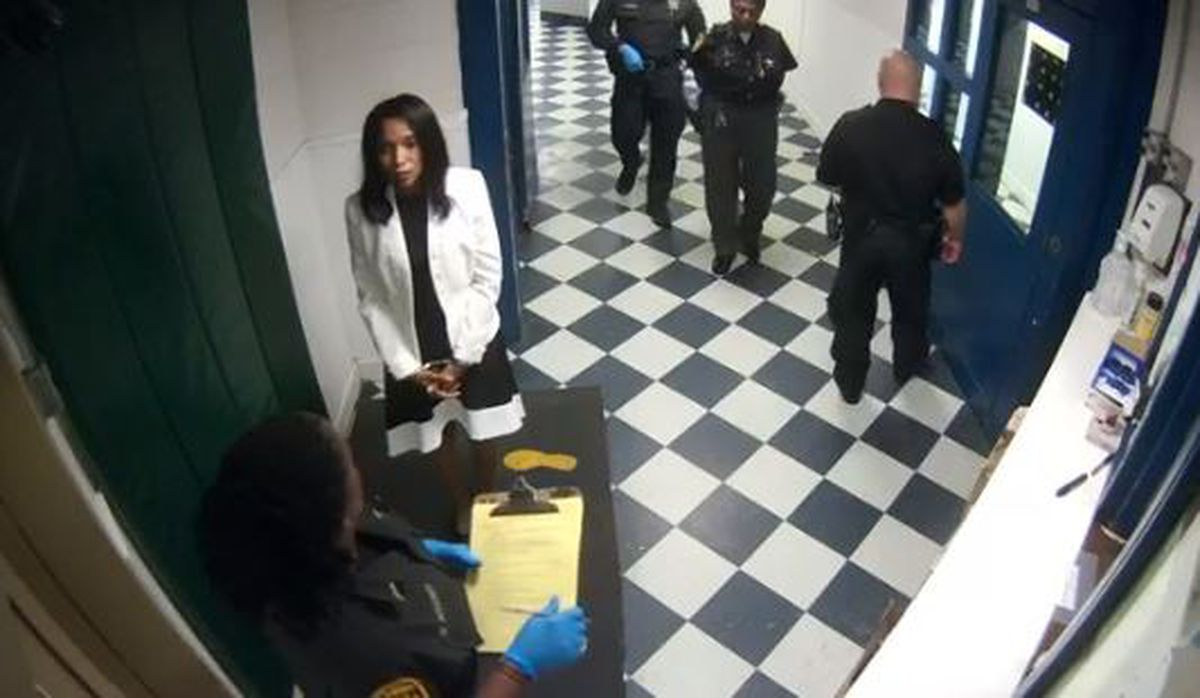 VIDEO: Former judge Tracie Hunter being processed inside